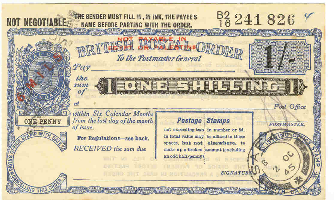 Palestine postal order
