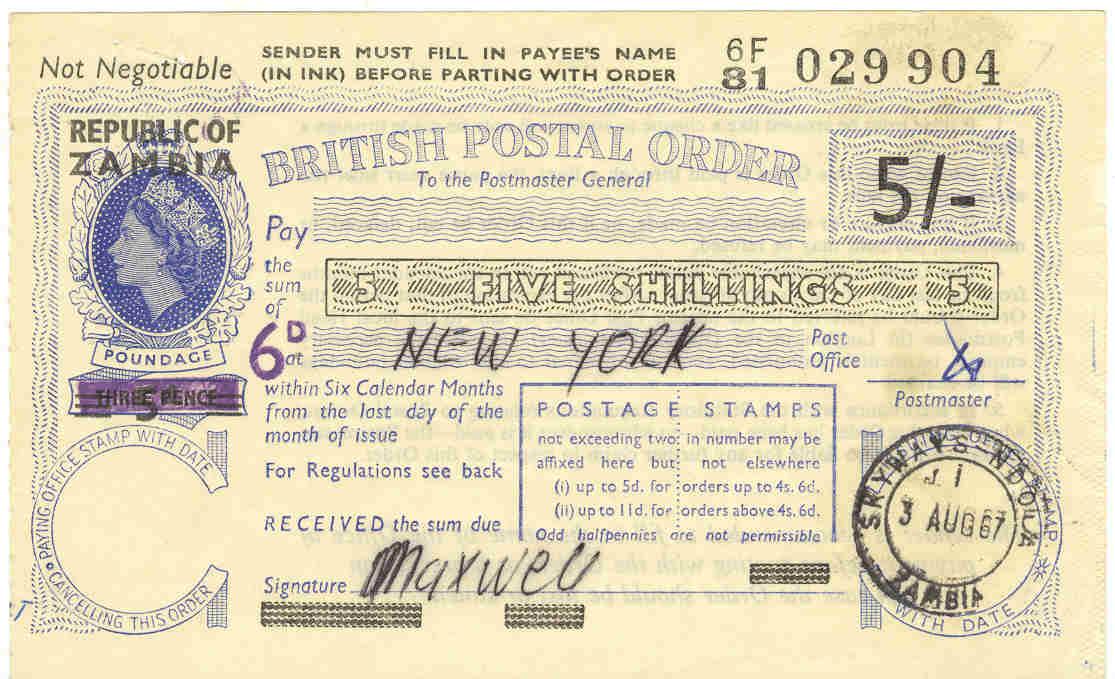 Zambia postal order