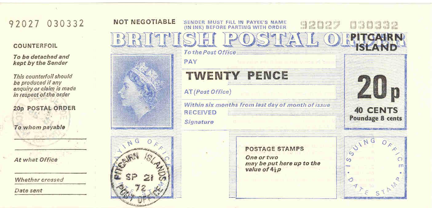 Pitcairn Island postal order