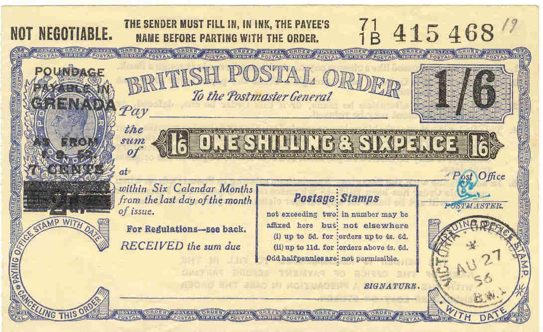 Grenada postal order