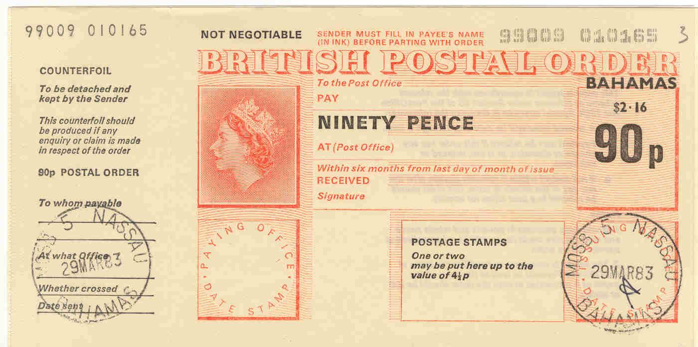 Bahamas postal order