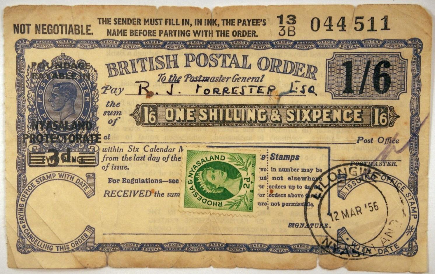 Nyasaland G6 postal order