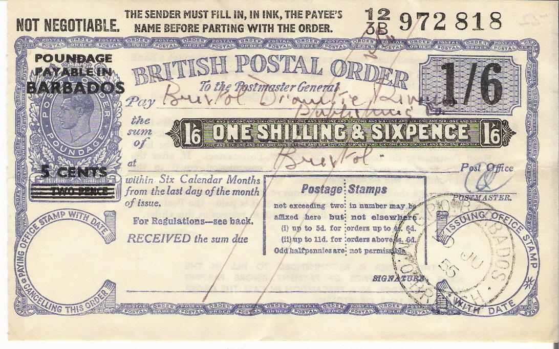 Barbados postal order