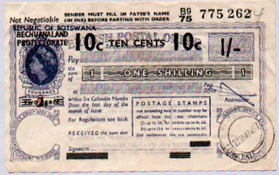 bechuanaland postal order opt Botswana