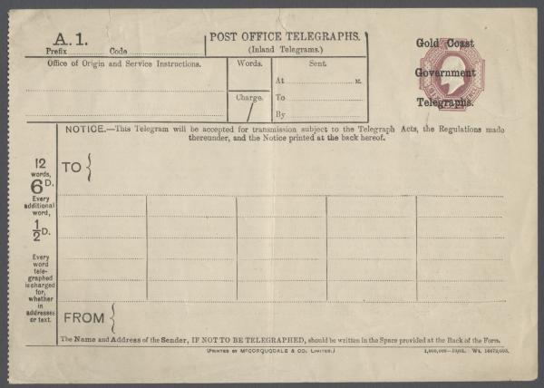 Gold Coast telegram overprint