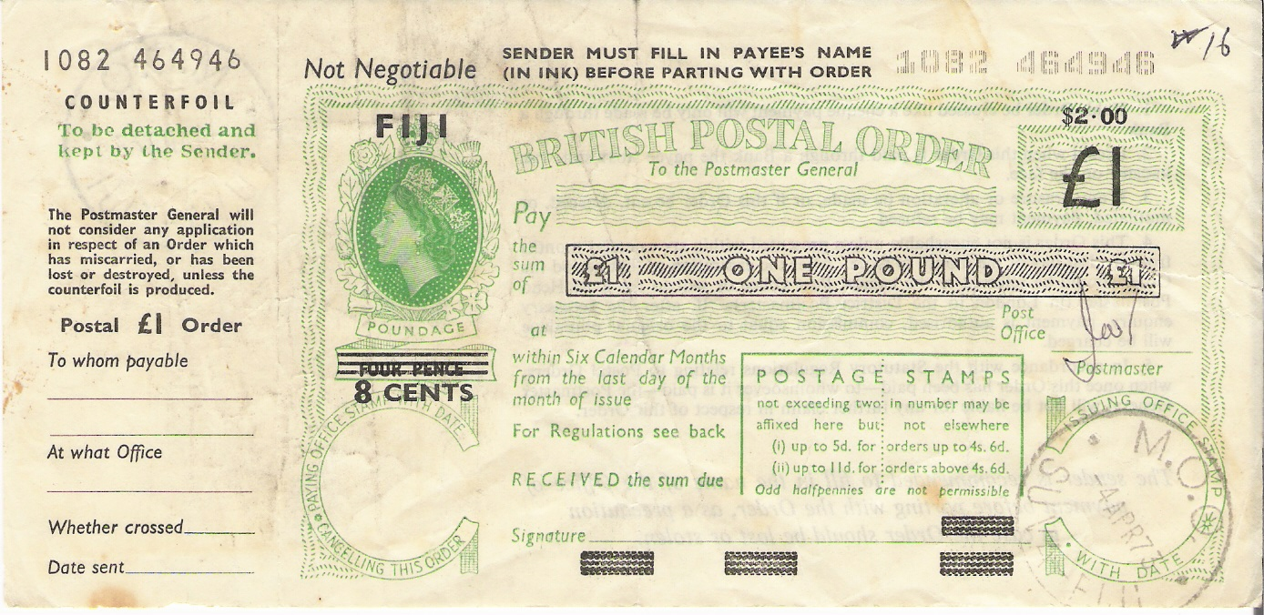 Fiji QE postal order