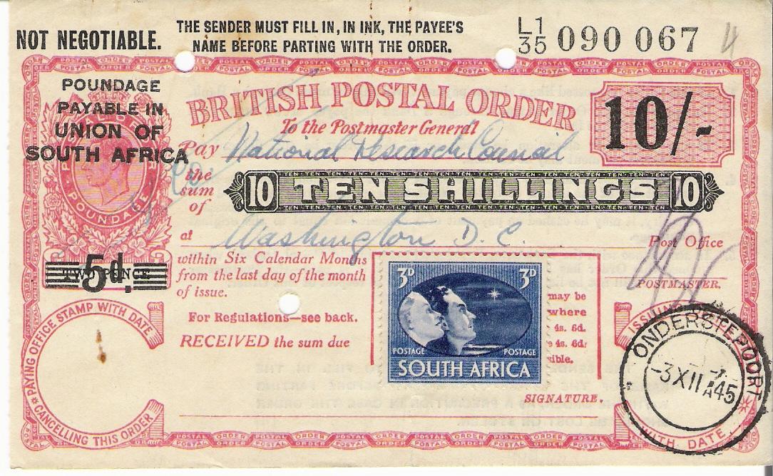 South Africa postal order G6
