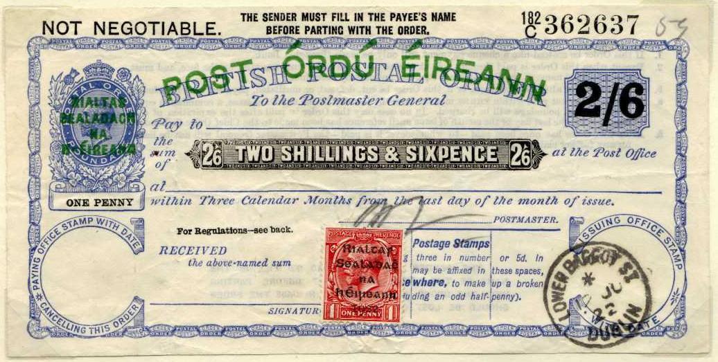 Ireland postal order Rialtas