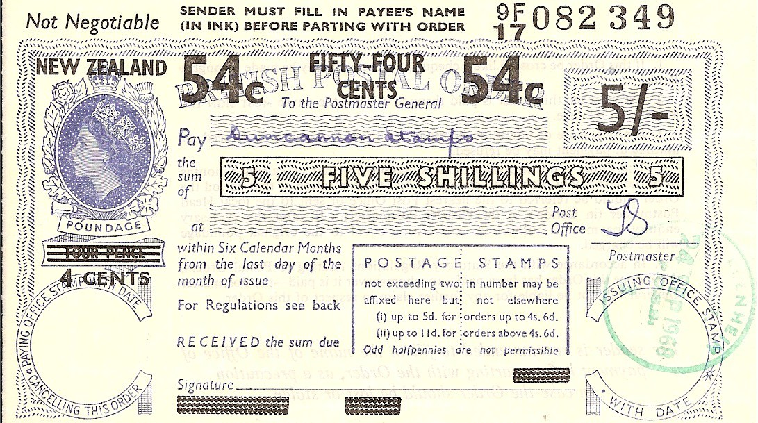 New Zealand postal order
