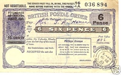 Mauritius postal order