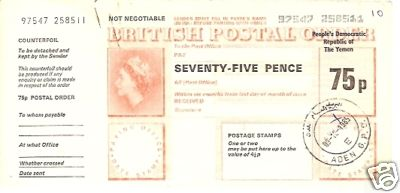 Yemen (PDR) postal order