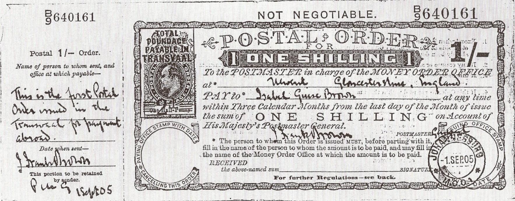 Transvaal Edward VII 1s postal order