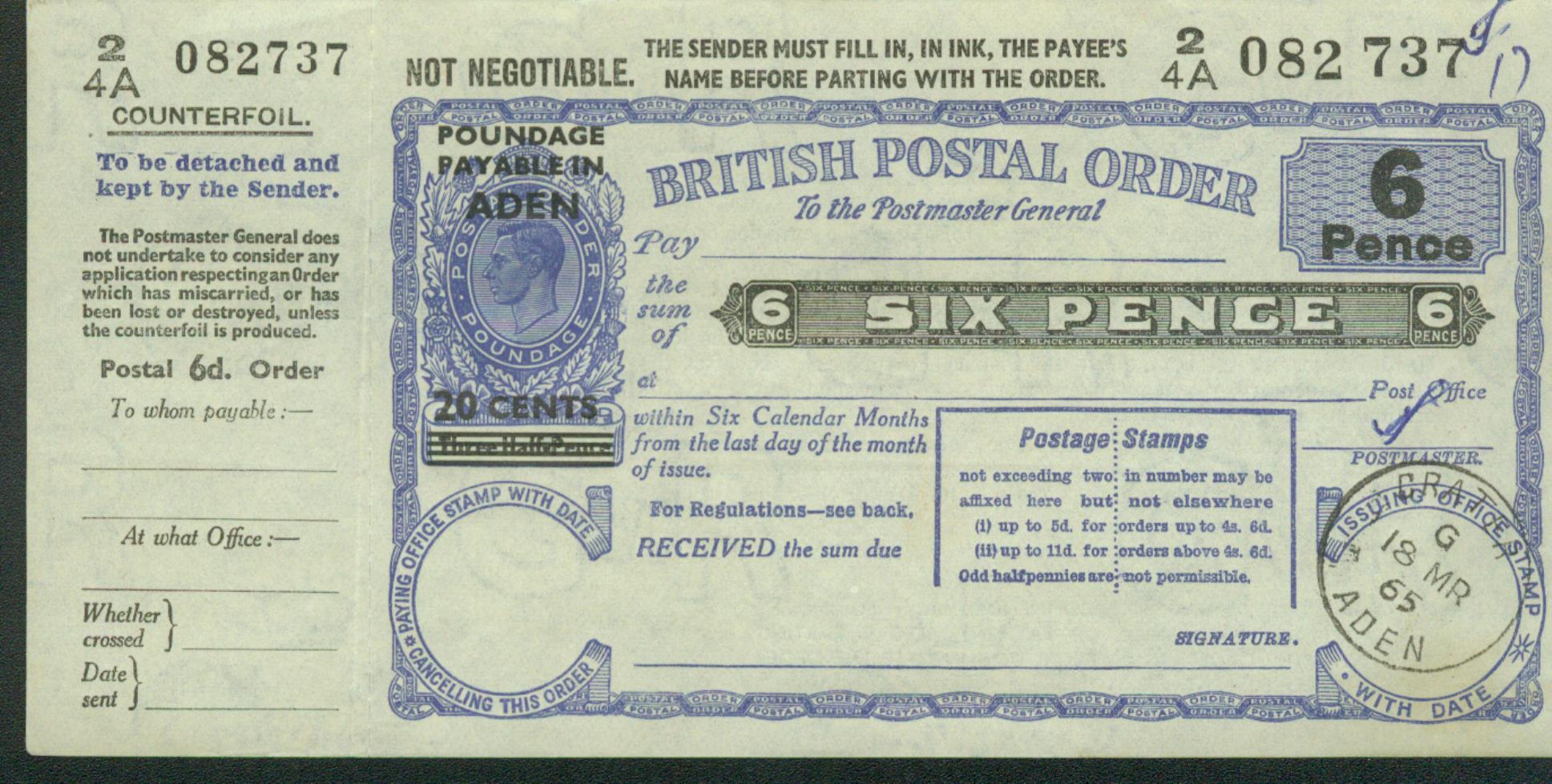 Aden postal order