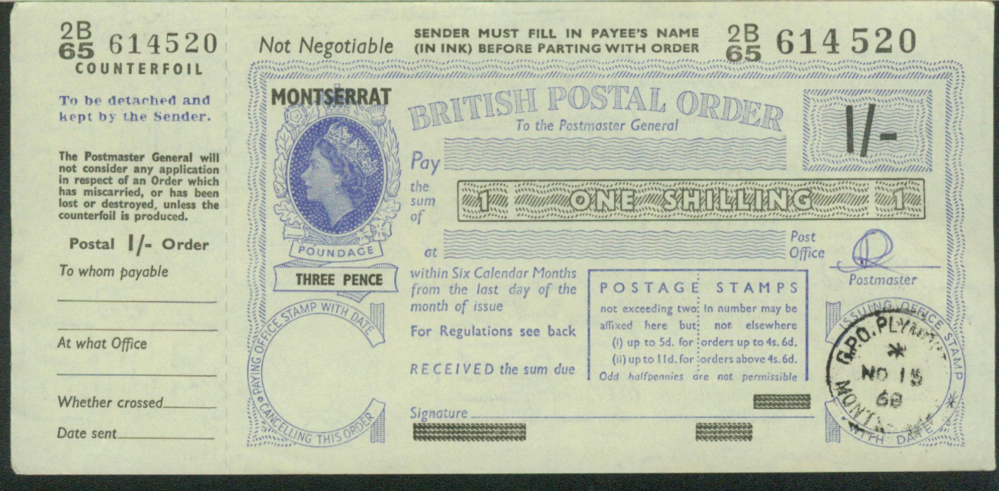 Montserrat postal order