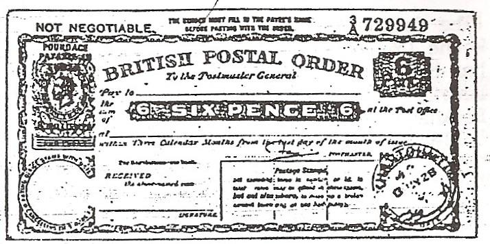 Sudan postal order (poor image)