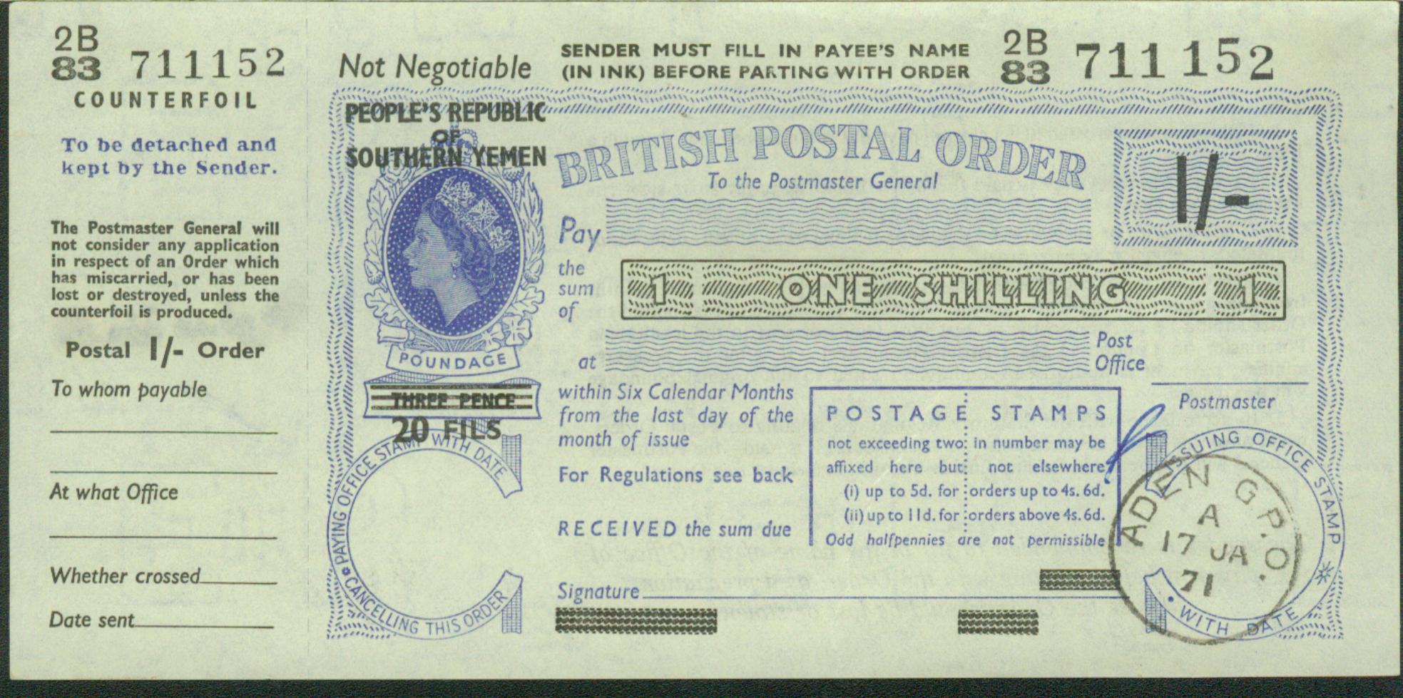 Southern Yemen (Peoples Republic) postal order