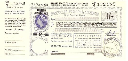British Honduras postal order