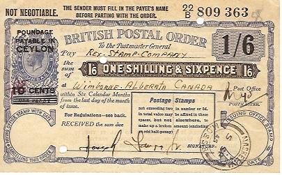 Ceylon postal order