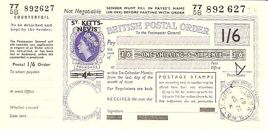 St Kitts Nevis postal order
