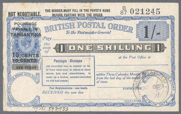 Tanganyika postal order