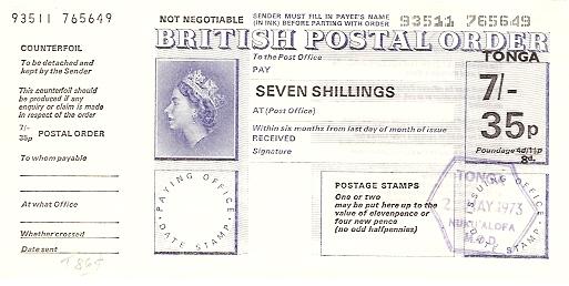 Tonga postal order