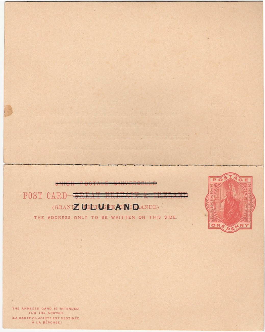 Zululand card 1d+1d outward