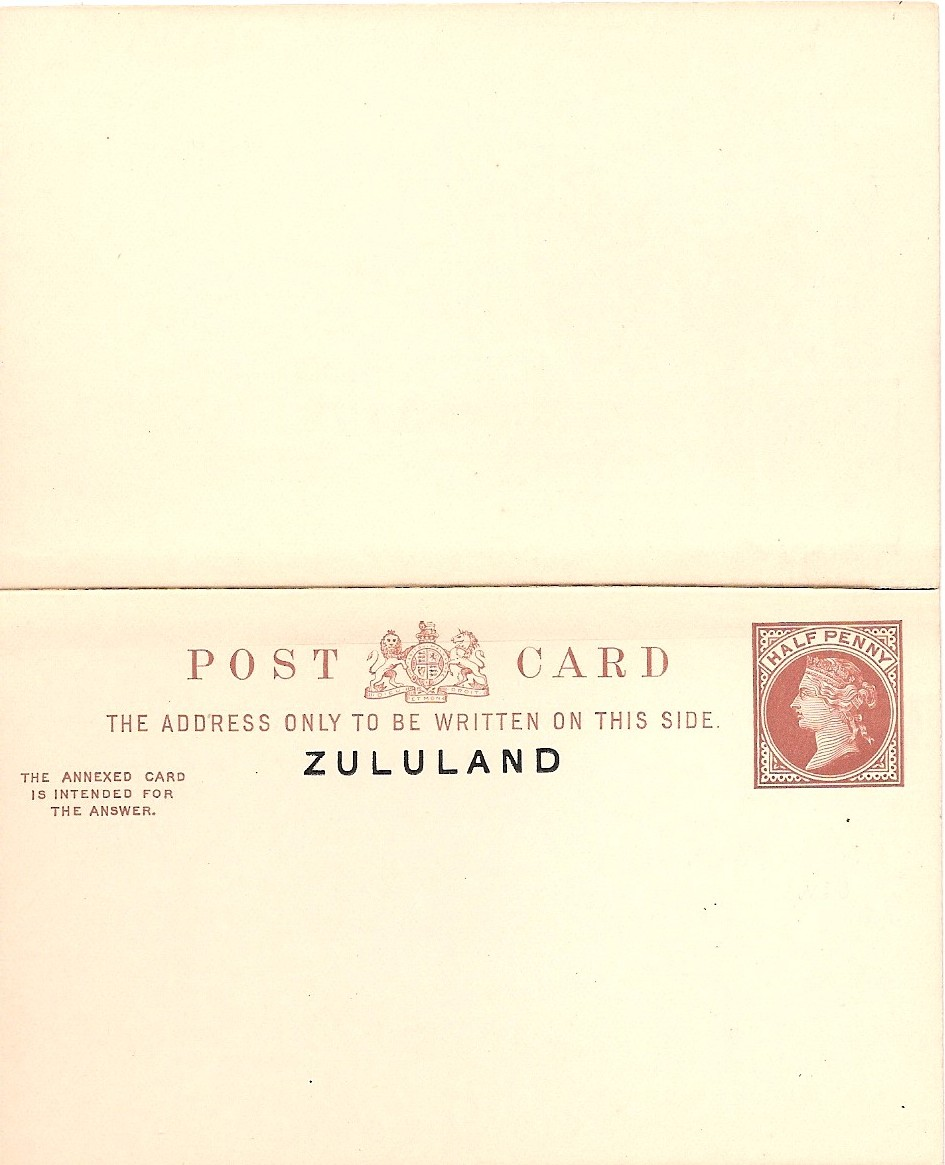 Zululand card halfd reply outward