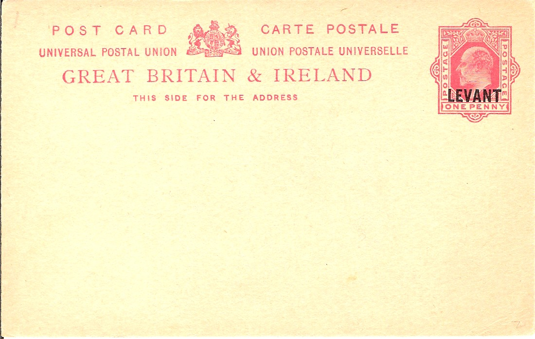 Levant (UK) Edward 7 1d card with inscr