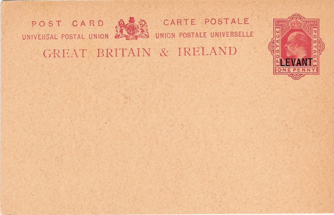 Levant (UK) Edward 7 1d card Arms over A no inscr