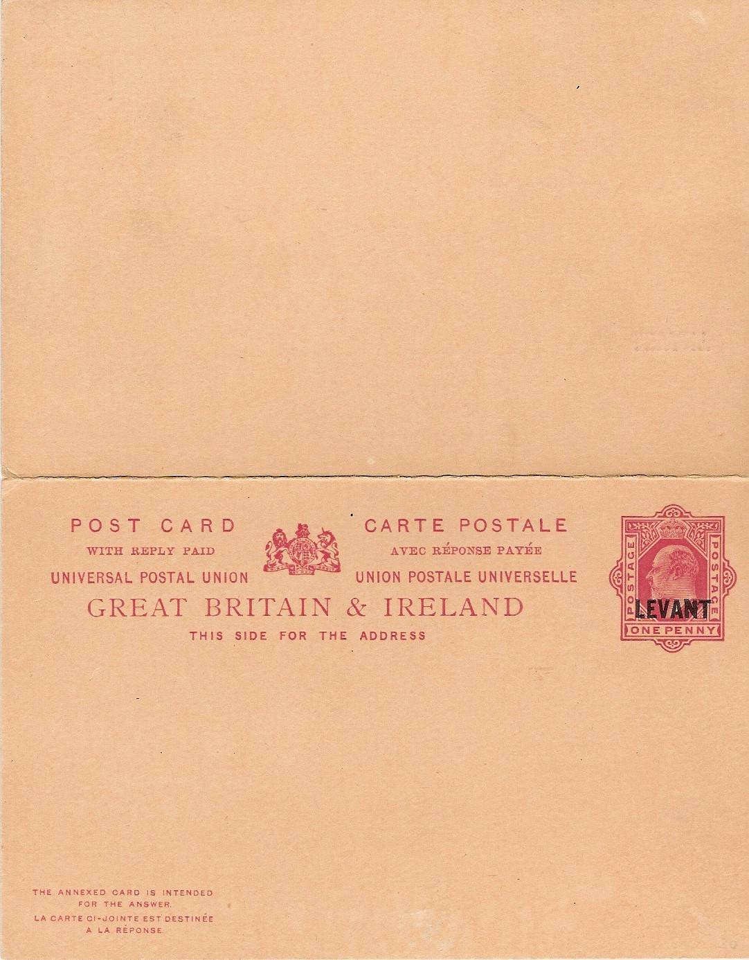 Levant (UK) 1d with inscr reply card outward