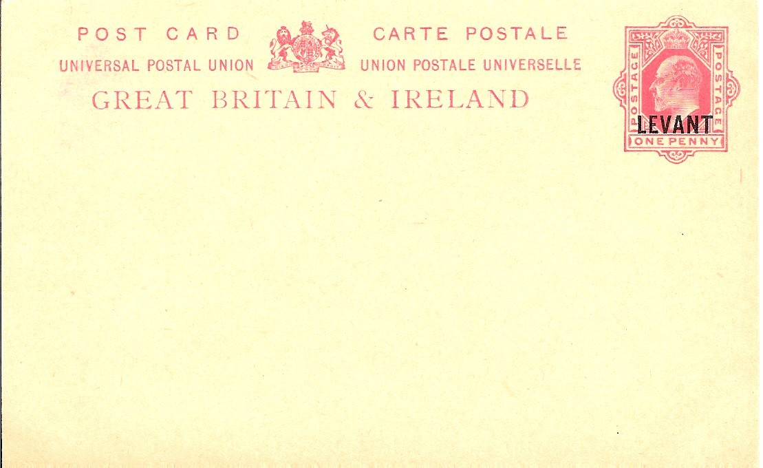 Levant (UK) Edward 7 1d card Arms over I no instr