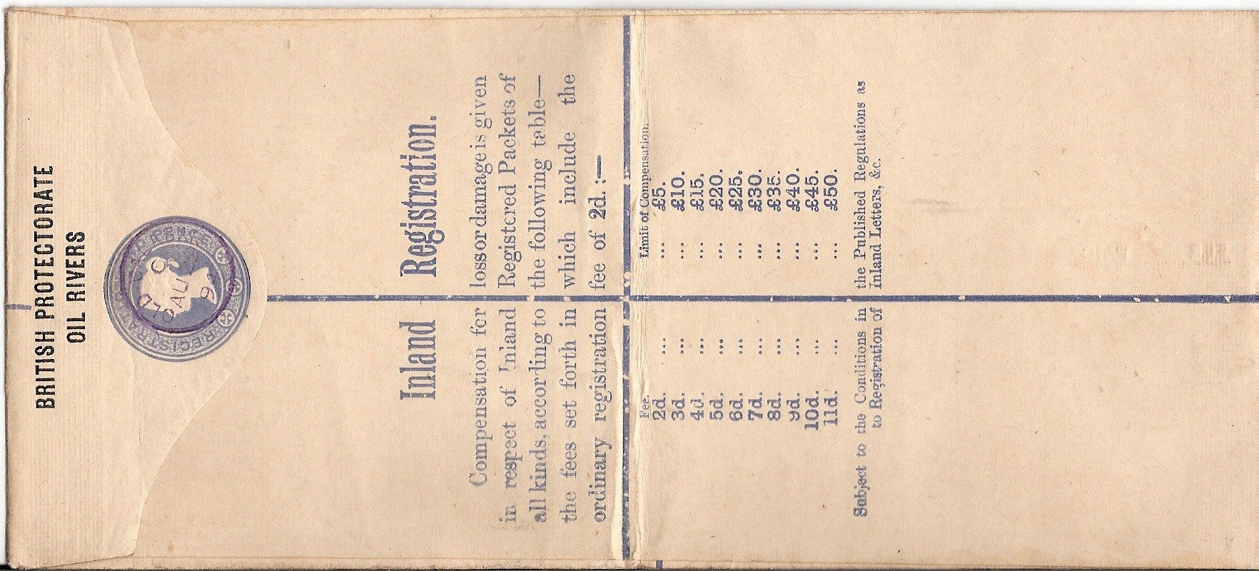 Oil Rivers registered H2 �50 printed