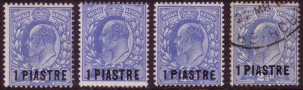 Levant 4 types of 1 Piastre Harrison 200
