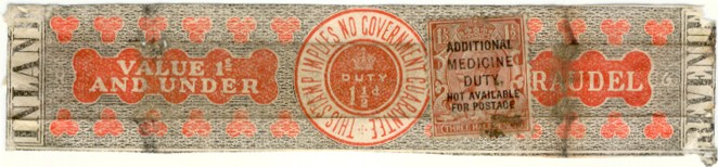 Medicine duty label (with stamp) 150