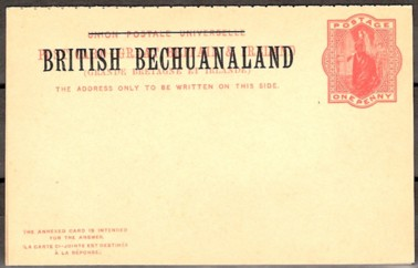 Bechuanaland reply card front 200