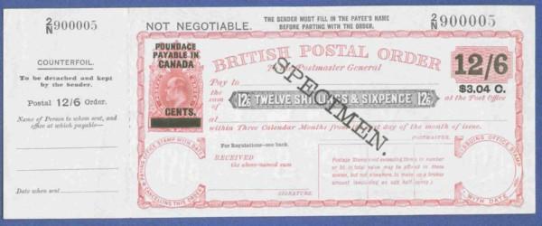 Canada 12/6d postal order front 200