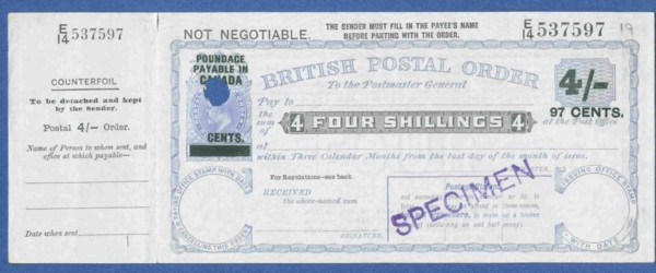 Canada 4s postal order front 200