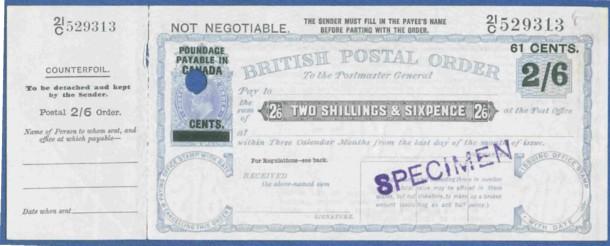 Canada 2/6d postal order front 200