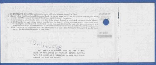 Canada 2/6d postal order rear 200