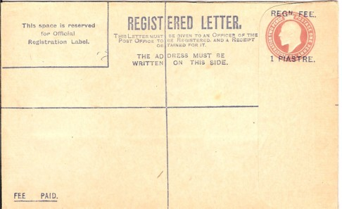 Levant 1907 registration envelope size G 200