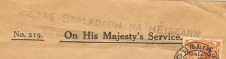 Ireland handstamped OHMS letter (detail) 200