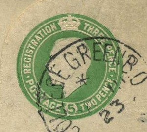 Ireland green registered letter (detail) 300