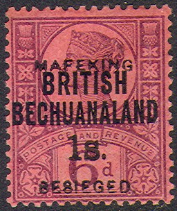 Mafeking 1s sans serif on British Bechuanaland Rossi 72