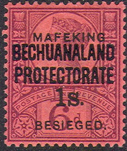 Mafeking 1s sans serif on Bechuanaland Protectorate Rossi 72