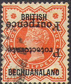 Bechuanaland fourpence inverted Rossi 72