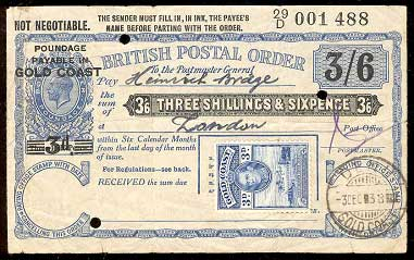 Gold Coast postal order 200